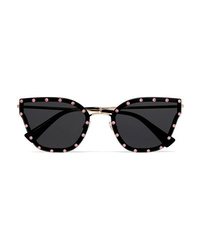Valentino Cat Eye Crystal Embellished Acetate And Gold Tone Sunglasses