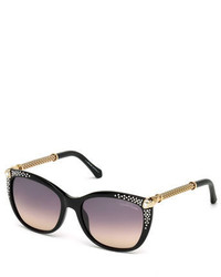 Roberto Cavalli Studded Cat Eye Sunglasses Black