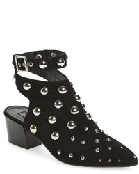 Black Studded Velvet Ankle Boots