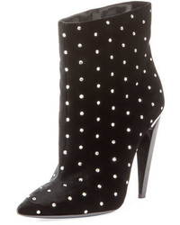 Saint Laurent Studded Velvet Ankle Bootie