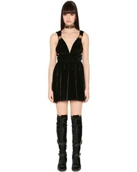 Fausto Puglisi Flared Studded Velvet Mini Dress