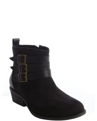 Charles by Charles David Black Faux Suede Triple Buckle Detail Ankle Boot