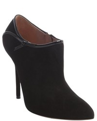 Gucci Black Suede Calzature Patent Detail Ankle Booties