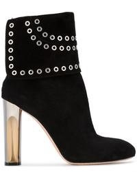 Alexander McQueen Black Suede Fold Over Eyelet 110 Boots