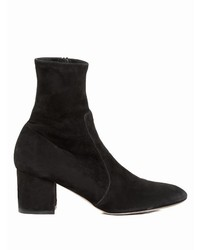 Valentino Block Heel Stretch Suede Ankle Boots