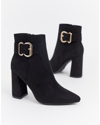 New Look Detail Heeled Boot In Black