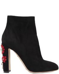 Dolce & Gabbana 105mm Vally Swarovski Suede Ankle Boots