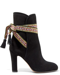 Etro Jacquard Trimmed Suede Ankle Boots Black