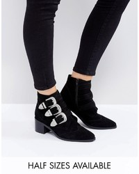 Asos Relieve Suede Buckle Ankle Boots