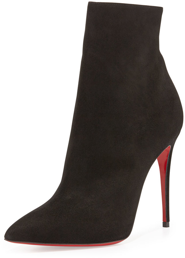 outlet store d0e32 1c8a8 $1,095, Christian Louboutin So Kate Booty Suede Red Sole Ankle Boot Black