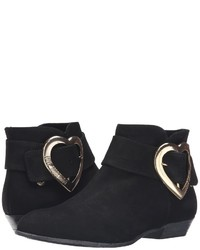 Love Moschino Suede Heart Buckle Ankle Bootie