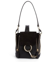 Chloe mini faye leather suede backpack black medium 3683869