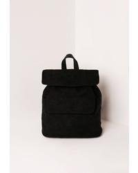 Missguided Front Pocket Faux Suede Rucksack Black