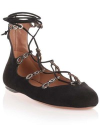 Alaia Alaa Black Suede Lace Up Ballerina