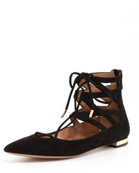 Aquazzura Belgravia Lattice Suede Flat Black