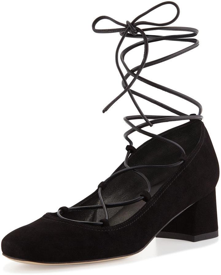 f0c9c74301e ... Stuart Weitzman Cordon Lace Up Ballerina Pump Black ...