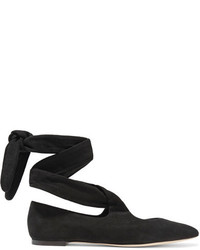 The Row Elodie Lace Up Suede Ballet Flats Black