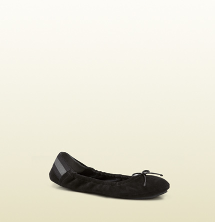 309156dfb Gucci Black Suede Ballet Flat From Viaggio Collection, $385 | Gucci ...