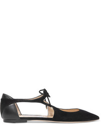 Jimmy Choo Vanessa Cutout Suede And Leather Point Toe Flats Black