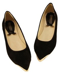 ChicNova Soft Suede Upper Flat Shoes With Metal Tips