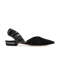 Nicholas Kirkwood Suzi Suede And Ruched Leather Slingback Point Toe Flats