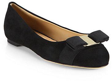 b9c308a3c18 ... Black Suede Ballerina Shoes Salvatore Ferragamo Varina Suede Bow Ballet  Flats ...