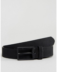 ASOS DESIGN Smart Faux Suede Slim Belt In Black
