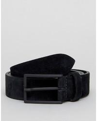 Asos Smart Slim Suede Belt In Black
