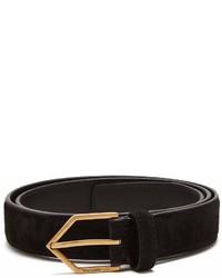Saint Laurent Triangle Buckle Skinny Leather Belt