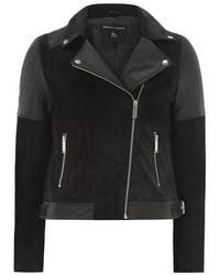 Dorothy Perkins Black And Navy Leather Suede Biker Jacket
