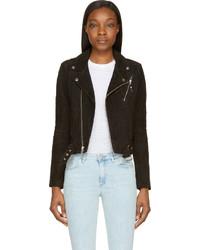Black suede classic biker jacket medium 213396