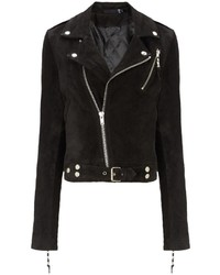 Black suede cropped jacket 1 medium 141586