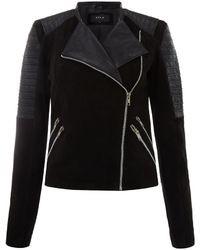 Vila Ribbed Sleeve Leather Jacket