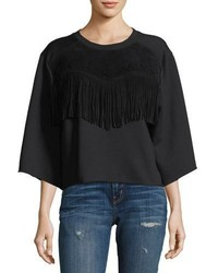 Current/Elliott The Suede Fray Popover Wide Sleeve Cotton Top