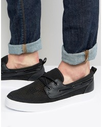 Asos Boat Shoes In Black Faux Suede With Perforated Detail