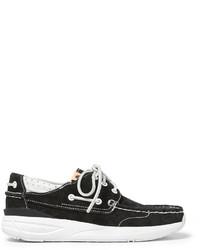 VISVIM Hockney Leather Trimmed Suede Boat Shoes