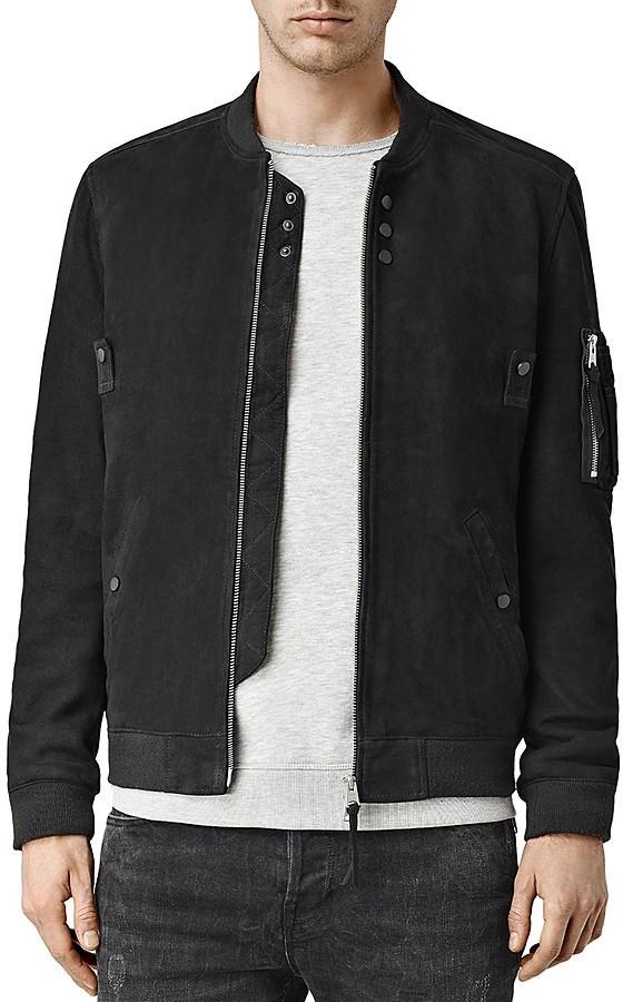 e4f49cb96 $650, AllSaints All Saints Aram Regular Fit Suede Bomber Jacket