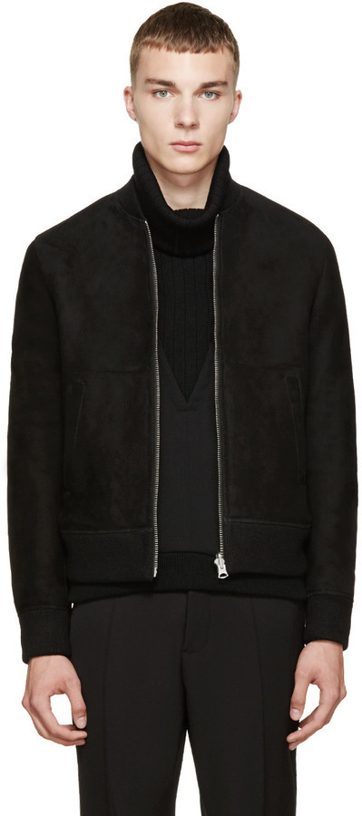 4a1d85a63 $2,350, Acne Studios Black Shearling Otto Bomber Jacket