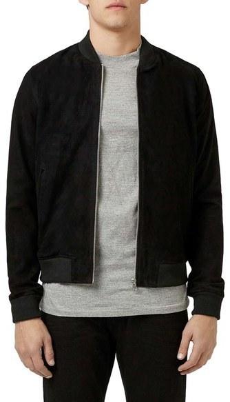 88c3fea65 $300, Topman Black Suede Bomber Jacket