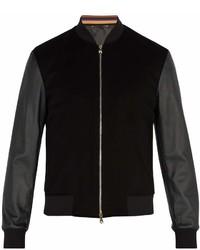 Paul Smith Leather Sleeved Cashmere Bomber Jacket