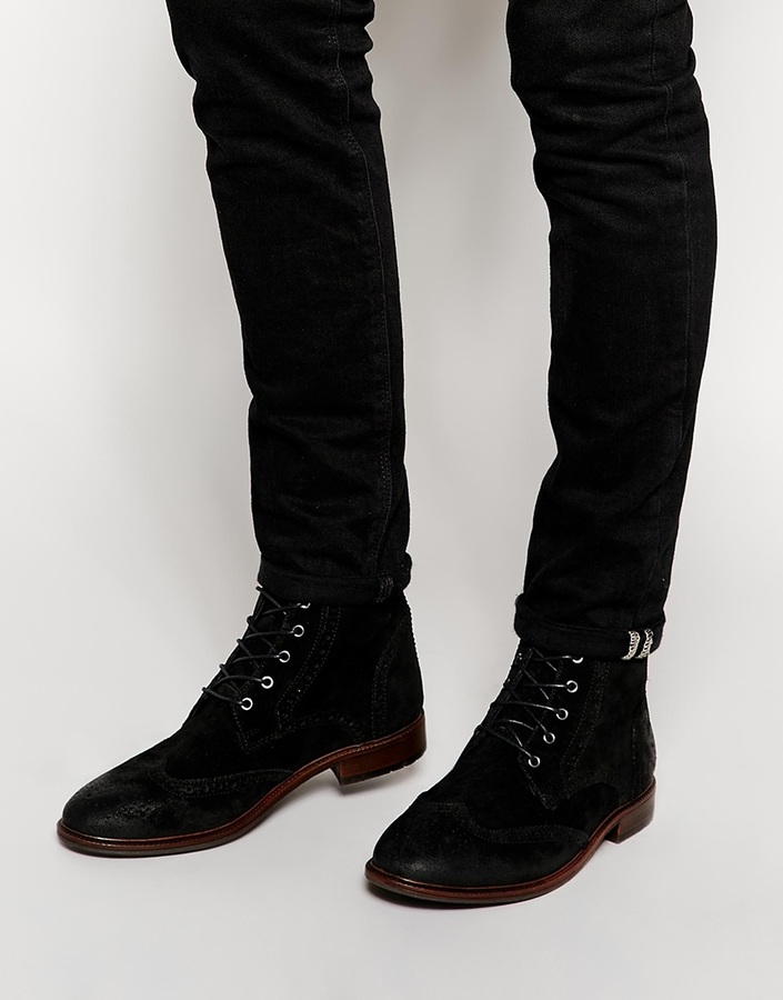 black suede boots asos brand brogue boots in suede