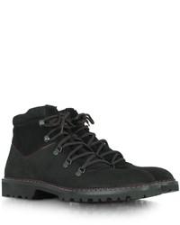 a. testoni Atestoni Black Suede Lace Up Ankle Boot
