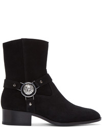 Versus Black Suede Medusa Harness Boots