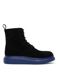 Alexander McQueen Black And Blue Hybrid Brogue Boots