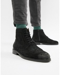 Pier One Brogue Boots In Black Suede