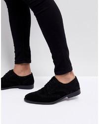 ASOS DESIGN Asos Derby Brogue Shoes In Black Suede