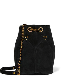 Black Suede Bucket Bag