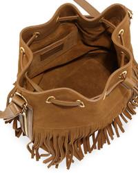 eb8f5920d1 ... Saint Laurent Emmanuelle Small Suede Fringe Bucket Bag Black ...