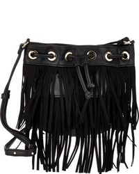 Deux Lux Fringe Micro Bucket Bag Black