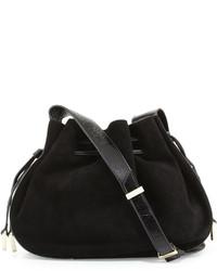74ece40e3e Halston Heritage Glazed Leather Suede Bucket Bag Black